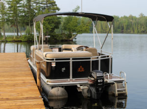 Pontoon boat for rent at Pickerel Bay Lodge, White Lake ON
